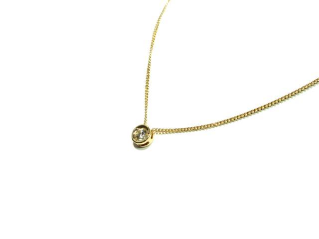 【中古】ジュエリー ダイヤモンドネックレス レディース K18YGイエローゴールド 0.14ct ゴールド×クリアー | JEWELRY ネックレス K18 18K 18金 ダイヤ ダイヤモンド 美品 ブランドオフ BRANDOFF 美品 ボーナス