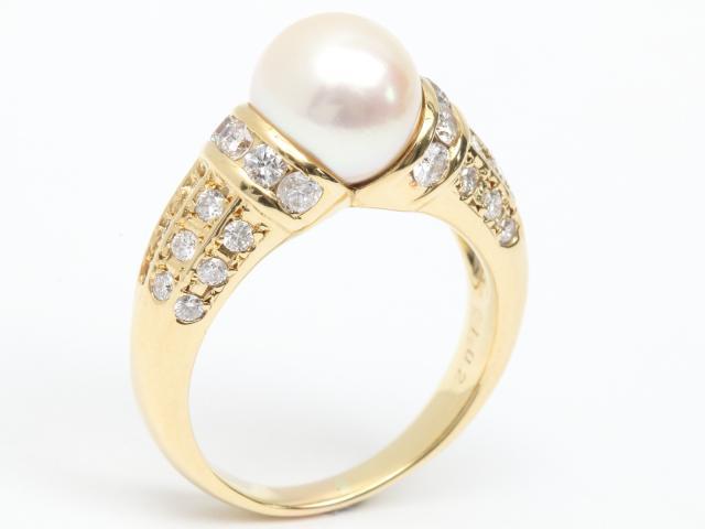 【中古】【送料無料】ジュエリー パール ダイヤモンド リング 指輪 レディース K18YG(750) イエローゴールド x パール (9mm) x ダイヤモンド (1.02ct) | JEWELRY リング ダイヤ RING アクセサリー 18K ブランドオフ BRANDOFF 美品 ボーナス
