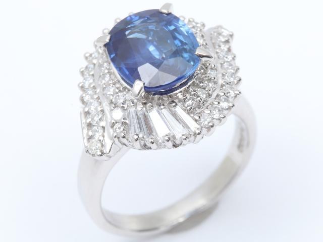【中古】【送料無料】ジュエリー サファイア ダイヤモンド リング 指輪 レディース PT900 プラチナ x サファイア(2.67ct) x ダイヤモンド(0.658ct) | JEWELRY リング ダイヤ RING アクセサリー ブランドオフ BRANDOFF 美品 ボーナス