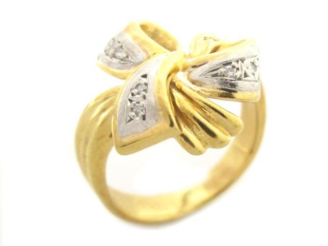 【中古】【送料無料】ジュエリー ダイヤモンドリング 指輪 レディース K18YG(750) イエローゴールド PT900(プラチナ)ダイヤモンド0.04ct ゴールド | JEWELRY リング ダイヤ RING アクセサリー ブランドオフ BRANDOFF 美品 ボーナス