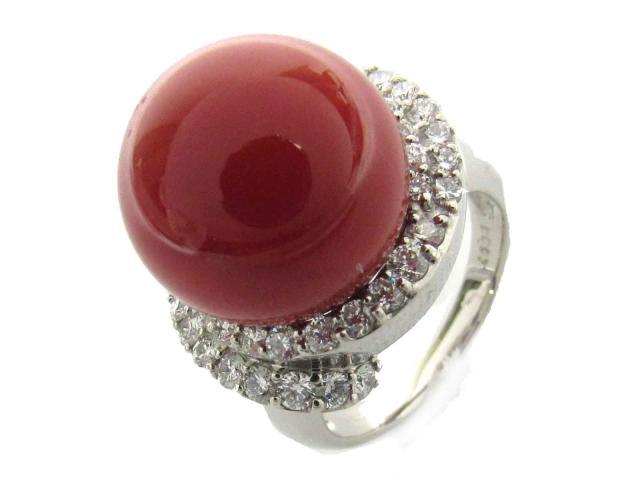 【中古】【送料無料】ジュエリー サンゴ ダイヤモンド リング 指輪 レディース PT900 プラチナ x サンゴ(直径約14.0mm) x ダイヤモンド(0.97ct) | JEWELRY リング リング ダイヤ ダイヤモンド 美品 ブランドオフ BRANDOFF 美品 ボーナス