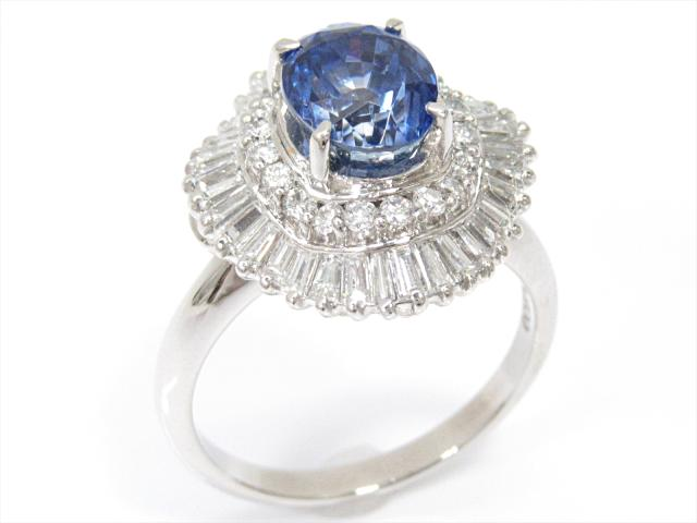 【中古】【送料無料】ジュエリー 非加熱サファイアリング 指輪 レディース PT900 プラチナxサファイア(2.67ct)xダイヤモンド(1.05ct)   JEWELRY リング リング ダイヤ ダイヤモンド 美品 ブランドオフ BRANDOFF 美品 ボーナス