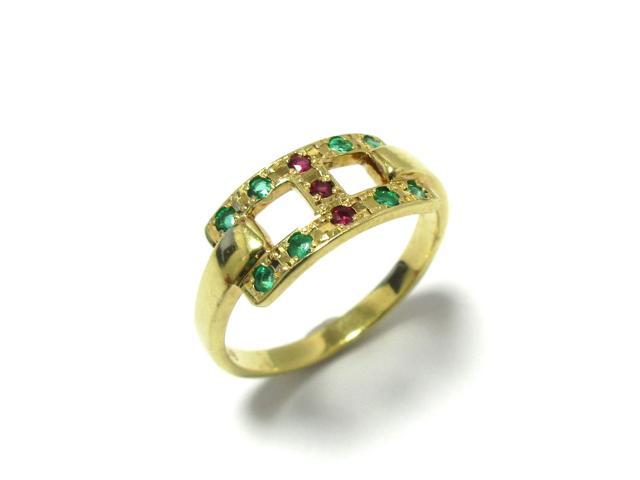 【中古】ジュエリー 色石 リング 指輪 レディース K18YG(750) イエローゴールドx色石(石目打刻なし) ゴールドxレッドxグリーン | JEWELRY リング 色石リング 2.6g K18 18K 18金 美品 ブランドオフ BRANDOFF 美品 ボーナス