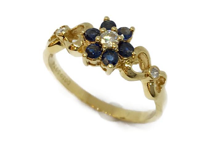 【中古】ジュエリー リング 指輪 サファイア ダイヤ K18 レディース K18YG(750) イエローゴールドサファイア(S0.34ct)ダイヤ(D0.10ct) ゴールド | JEWELRY リング リング K18 18K 18金 ダイヤ ダイヤモンド 美品 ブランドオフ BRANDOFF 美品 ボーナス