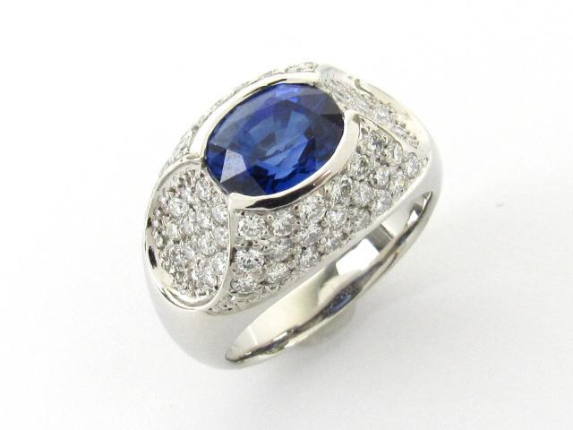 【中古】【送料無料】ジュエリー サファイア ダイヤモンド リング 指輪 レディース PT900 プラチナ x サファイア3.09ct x ダイヤモンド1.257ct   JEWELRY リング リング ダイヤ ダイヤモンド 美品 ブランドオフ BRANDOFF 美品 ボーナス