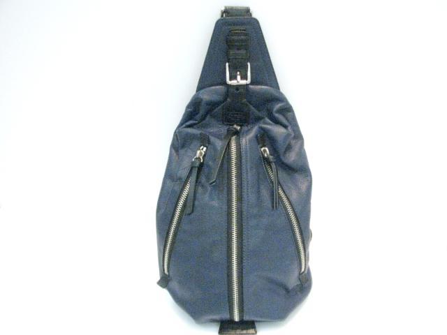 【中古】コーチ ボディバッグ ショルダーバッグ メンズ レザー ネイビー×ブラック (L1182)19800 | COACH ショルダー 肩掛け バッグ バック BAG 鞄 カバン ブランドバッグ ブランド ブランドオフ BRANDOFF