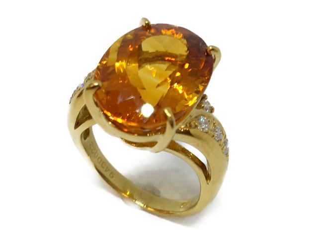 【中古】【送料無料】ジュエリー リング 指輪 シトリン ダイヤモンド レディース K18YG(750) イエローゴールドシトリン(S9.43ct)ダイヤモンド(0.22ct) オレンジ | JEWELRY リング リング K18 18K 18金 ダイヤ ダイヤモンド 美品 ブランドオフ BRANDOFF 美品 ボーナス