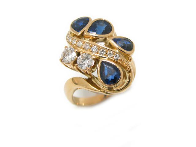 【中古】【送料無料】ジュエリー サファイヤ ダイヤモンド リング 指輪 ユニセックス K18YG(750) イエローゴールド x サファイア (2.59ct) x ダイヤモンド (0.13/0.195/0.195ct)   JEWELRY Ring 美品 K18 18K 18金 メンズ レディース ブランドオフ BRANDOFF 美品 ボーナス