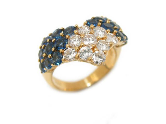 【中古】【送料無料】ジュエリー サファイヤ ダイヤモンド リング 指輪 ユニセックス 18K イエローゴールド x サファイア (2.11ct) x ダイヤモンド (0.90ct) | JEWELRY Ring 美品 メンズ レディース ブランドオフ BRANDOFF 美品 ボーナス