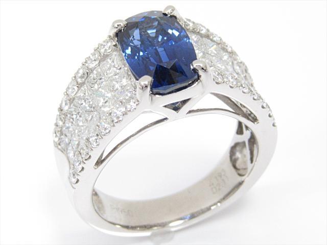 【中古】【送料無料】ジュエリー サファイアリング 指輪 レディース PT950 プラチナxサファイア(4.193ct)xダイヤモンド(2.11ct)   JEWELRY リング リング ダイヤ ダイヤモンド 美品 ブランドオフ BRANDOFF 美品 ボーナス