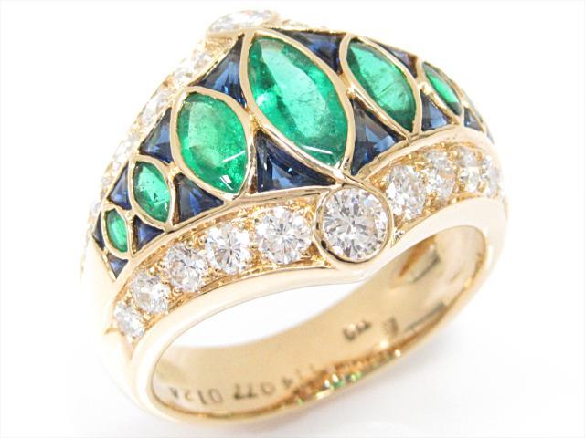 【中古】【送料無料】ジュエリー エメラルドリング 指輪 レディース k18YG(750) イエローゴールドxエメラルド(1.14ct)xサファイア(0.77ct)xダイヤモンド(1.24ct)   JEWELRY リング Ring 美品 18金 18K K18 ブランドオフ BRANDOFF 美品 ボーナス