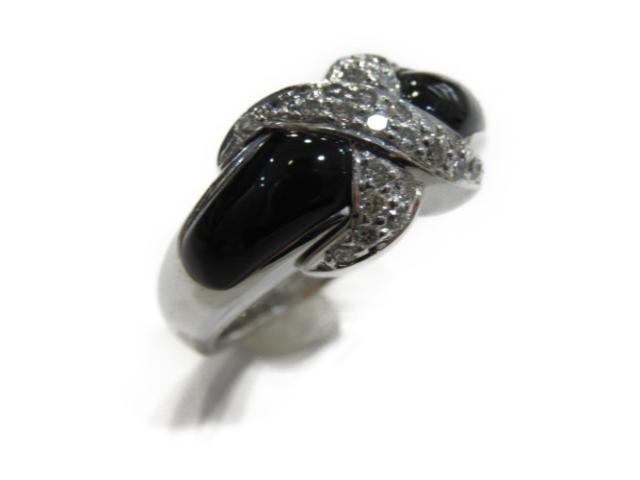 【中古】【送料無料】ジュエリー ダイヤモンド リング 指輪 レディース K18WG(750) ホワイトゴールド x ダイヤモンド(0.40ct)x オニキス | JEWELRY リング リング K18 18K 18金 ダイヤ ダイヤモンド 美品 ブランドオフ BRANDOFF 美品 ボーナス