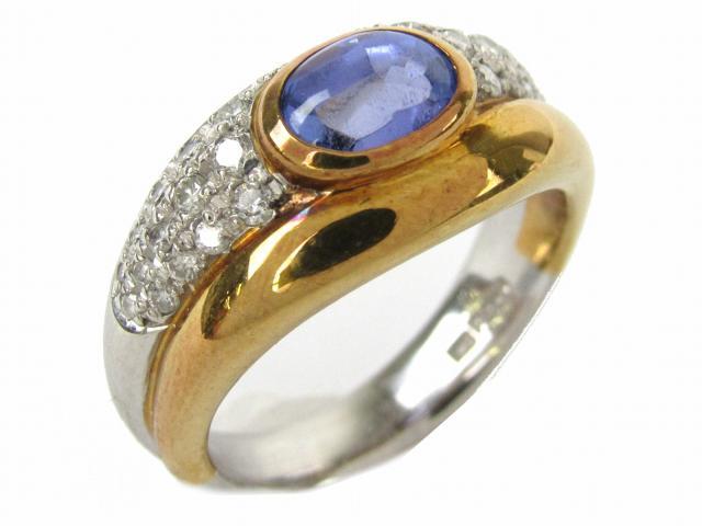 【中古】【送料無料】ジュエリー タンザナイト ダイヤモンド リング 指輪 レディース PT900 プラチナ x K18YG(イエローゴールド) x タンザナイト/ダイヤモンド0.30ct   JEWELRY Ring 美品 K18 18K 18金 ブランドオフ BRANDOFF 美品 ボーナス