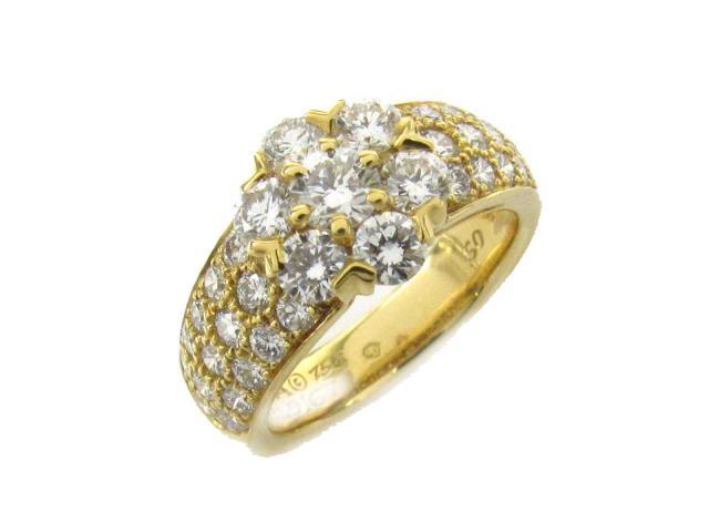【中古】【送料無料】ヴァンクリーフ&アーペル フルーレット ダイヤモンド リング 指輪 レディース K18YG(750) イエローゴールド x ダイヤモンド   Van Cleef & Arpels リング フルーレット リング 美品 ブランド ブランドオフ BRANDOFF