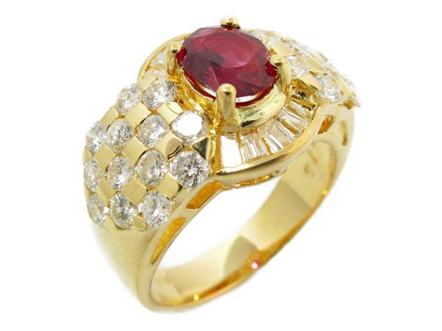 【中古】【送料無料】ジュエリー ルビー ダイヤモンド リング 指輪 レディース K18YG(750) イエローゴールドxルビー(0.76ct)xダイヤモンド(1.57ct) | JEWELRY ダイヤリング ダイヤ ルビーリング 8.6g 美品 K18 18K 18金ブランドオフ BRANDOFF 美品 ボーナス
