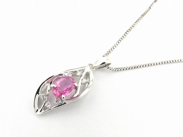 【送料無料】ジュエリー ピンクサファイアダイヤモンド ネックレス レディース K18WG(750) ホワイトゴールド x サファイア1.03ct x ダイヤモンド0.06ct | JEWELRY ネックレス ダイヤ ダイヤモンド ネックレス 新品 18K K18 18金 ブランドオフ BRANDOFF ボーナス