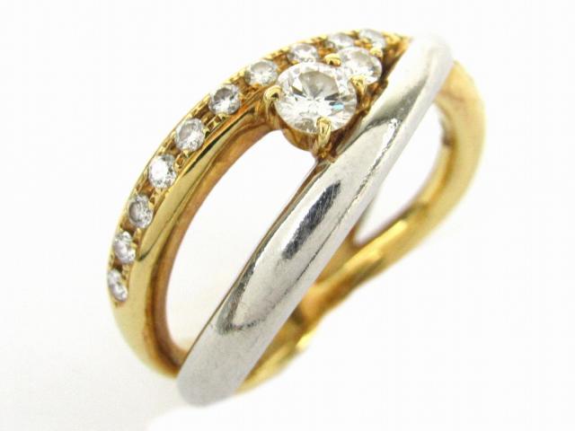【中古】【送料無料】ジュエリー 量の砂 ダイヤモンド リング 指輪 レディース PT900 プラチナ x K18YG(イエローゴールド) x ダイヤモンド石目なし | JEWELRY Ring ダイヤ リング 美品 18K K18 18金 ブランドオフ BRANDOFF 美品 ボーナス