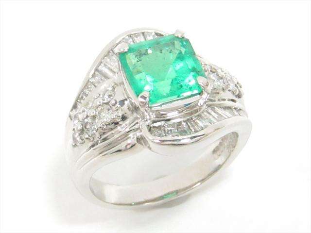 【中古】【送料無料】ジュエリー エメラルドリング 指輪 レディース PT900 プラチナxエメラルド(3.03ct)xダイヤモンド(1.25ct) | JEWELRY リング ダイヤ ダイヤモンド リング 美品 ブランドオフ BRANDOFF 美品 ボーナス
