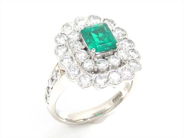【中古】【送料無料】ジュエリー エメラルドリング 指輪 レディース PT900 プラチナxエメラルド(1.083ct)xダイヤモンド(2.0ct) | JEWELRY リング ダイヤ ダイヤモンド リング 美品 ブランドオフ BRANDOFF 美品 ボーナス