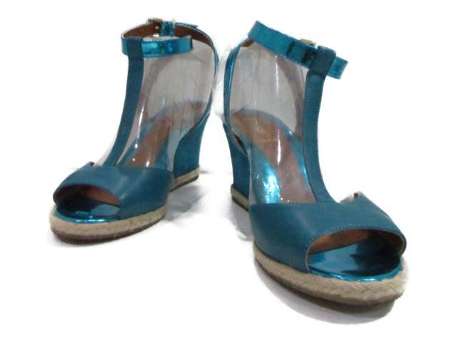 【中古】フェンディ サンダル レディース レザー パテントレザー スエード ブルーグリーン   FENDI くつ 靴 ブランド ブランドオフ BRANDOFF