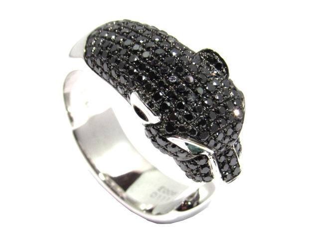 【中古】ジュエリー ブラックダイヤモンドリング ユニセックス K18WG(750) ホワイトゴールドD1.11ct ×E0.06ct  ブラック×シルバー   ブランドオフ BRANDOFF ボーナス