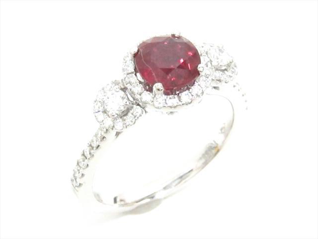 【中古】【送料無料】ジュエリー ルビーリング 指輪 レディース K18WG(750) ホワイトゴールドxルビー(1.488ct)xダイヤモンド(0.60ct) | JEWELRY リング ダイヤ K18 18K 18金 美品 ブランドオフ BRANDOFF 美品 ボーナス