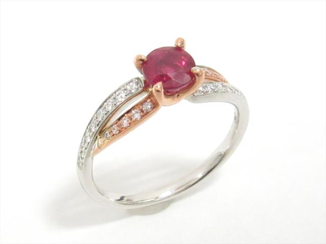 【中古】【送料無料】ジュエリー ルビーリング 指輪 レディース K18WG(750) ホワイトゴールドxK18PGxルビー(1.067ct)xダイヤモンド(0.20ct) | JEWELRY リング ダイヤ K18 18K 18金 美品 ブランドオフ BRANDOFF 美品 ボーナス