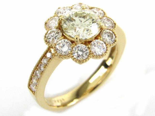 【中古】【送料無料】ジュエリー ダイヤモンド リング 指輪 レディース K18YG(750) イエローゴールド x ダイヤモンド1.144/1.04ct | JEWELRY Ring 18K K18 18金 ダイヤ 美品 ブランドオフ BRANDOFF 美品 ボーナス