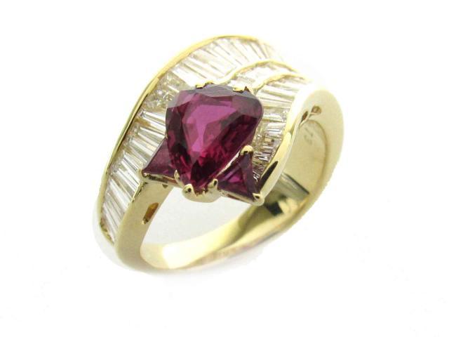 【中古】【送料無料】ジュエリー ルビー ダイヤモンド リング 指輪 レディース K18YG(750) イエローゴールド x ルビー(1.309ct/0.20ct) x ダイヤモンド(1.73ct) | JEWELRY Ring 18K K18 18金 ダイヤ 美品 ブランドオフ BRANDOFF 美品 ボーナス