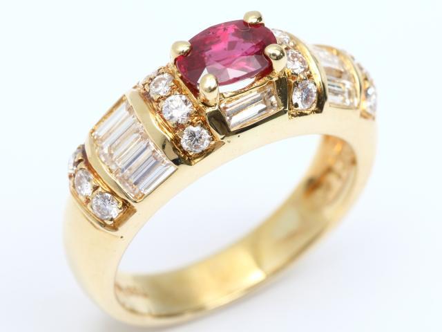 【中古】【送料無料】ジュエリー ルビー ダイヤモンド リング 指輪 レディース K18YG(750) イエローゴールド x ルビー(0.80ct) x ダイヤモンド(1.35ct) | JEWELRY Ring 18K K18 18金 ダイヤ 美品 ブランドオフ BRANDOFF 美品 ボーナス