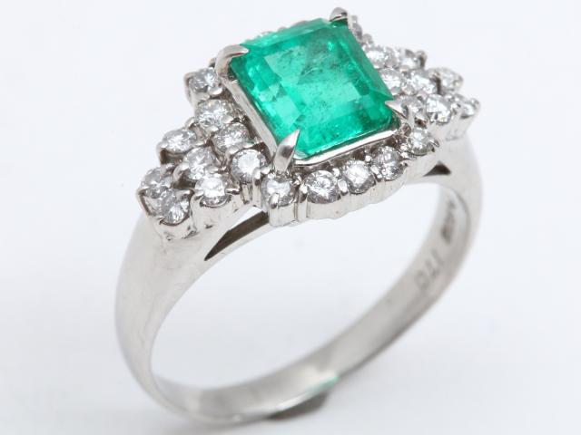 【中古】【送料無料】ジュエリー エメラルド ダイヤモンド リング 指輪 レディース PT900 プラチナ x エメラルド(1.70ct) x ダイヤモンド(0.60ct) | JEWELRY Ring ダイヤ 美品 ブランドオフ BRANDOFF 美品 ボーナス