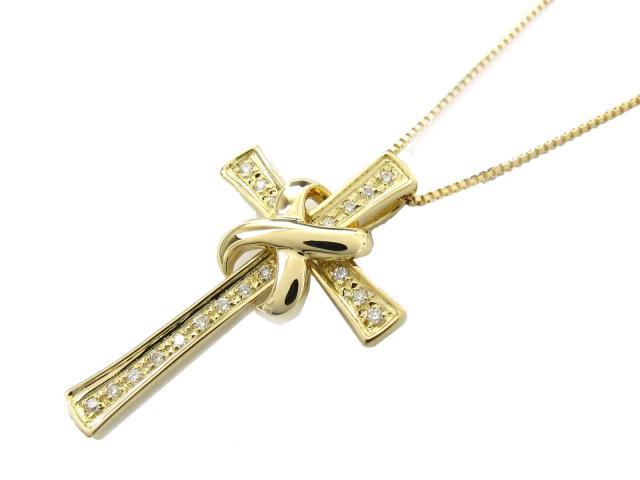 ジュエリークロスダイヤモンドネックレスレディースK18YG(750)イエローゴールドxダイヤモンド(0.23ct)
