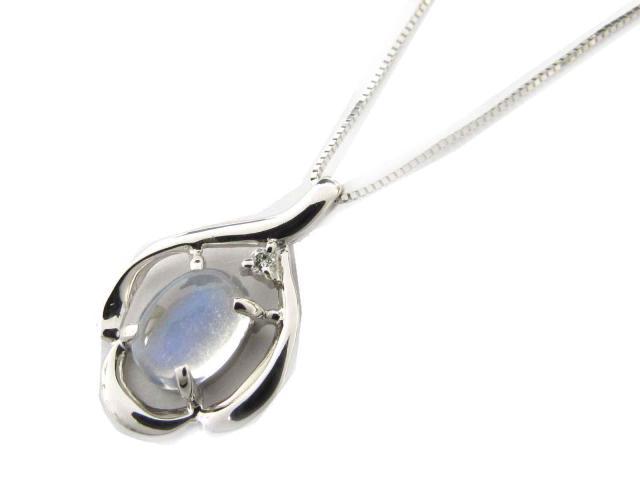 【送料無料】ジュエリー ムーンストーン ダイヤモンド ネックレス レディース K18WG(750) ホワイトゴールド x ムーンストーン x ダイヤモンド(0.02ct) | JEWELRY ネックレス 18K K18 18金 ダイヤ 新品 ブランドオフ BRANDOFF ボーナス
