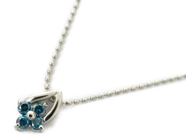 【送料無料】ジュエリー ブルーダイヤモンド ネックレス レディース K18WG(750) ホワイトゴールド x ダイヤモンド0.13ct | JEWELRY ネックレス 18K K18 18金 新品 ブランドオフ BRANDOFF ボーナス