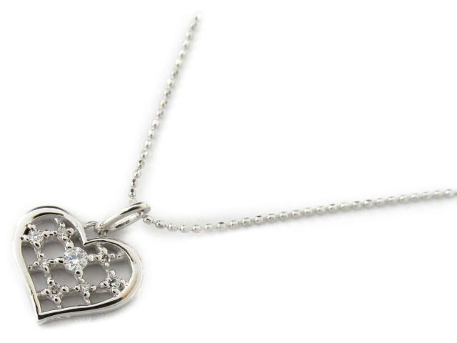 【送料無料】ジュエリー ハート ダイヤモンド ネックレス レディース K18WG(750) ホワイトゴールド x ダイヤモンド0.12ct | JEWELRY ネックレス 18K K18 18金 ダイヤ 新品 ブランドオフ BRANDOFF ボーナス