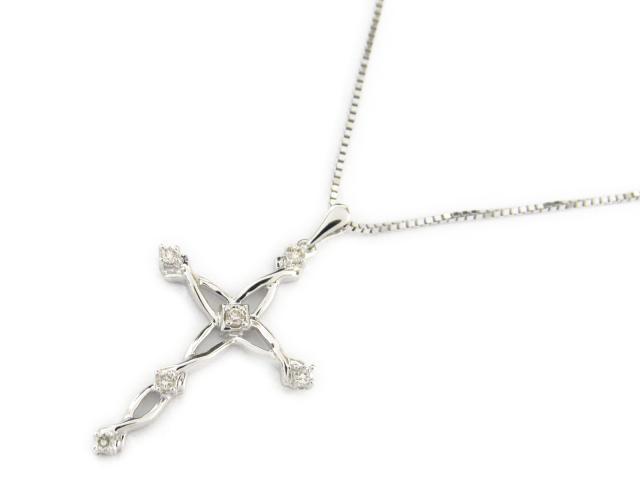 【送料無料】ジュエリー クロス ダイヤモンド ネックレス レディース K18WG(750) ホワイトゴールド x ダイヤモンド0.10ct | JEWELRY ネックレス 18K K18 18金 ダイヤ 新品 ブランドオフ BRANDOFF ボーナス