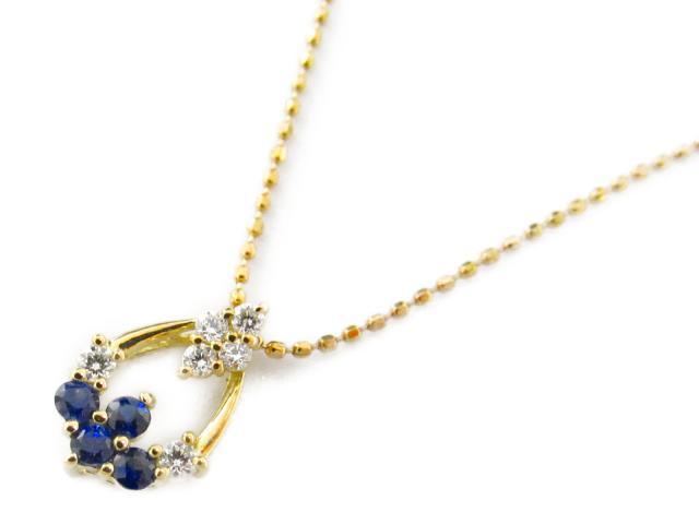 【送料無料】ジュエリー サファイア ダイヤモンド ネックレス レディース K18YG(750) イエローゴールド x サファイア0.16/ダイヤモンド0.10ct | JEWELRY ネックレス 18K K18 18金 ダイヤ 新品 ブランドオフ BRANDOFF ボーナス