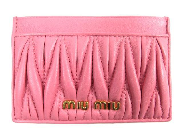 ミュウミュウ カードケース レディース レザー ピンク (5M0208) | miu miu ケース 新品 ブランド ブランドオフ BRANDOFF