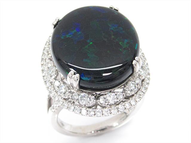 【中古】【送料無料】ジュエリー ブラックオパールリング 指輪 レディース K18WG(750) ホワイトゴールドxブラックオパール(12.839ct)xダイヤモンド(1.28ct) | JEWELRY Ring 18K K18 18金 美品 ブランドオフ BRANDOFF 美品 ボーナス