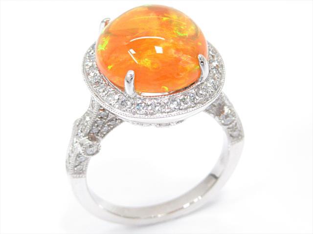 【中古】【送料無料】ジュエリー ファイアーオパールリング 指輪 レディース K18WG(750) ホワイトゴールドxファイアーオパール(5.714ct)xダイヤモンド(0.89ct)   JEWELRY Ring 18K K18 18金 美品 ブランドオフ BRANDOFF 美品 ボーナス
