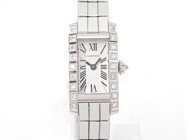 【中古】【送料無料】カルティエ タンク アロンジェ ラニエール 腕時計 ウォッチ レディース K18WG(750)ホワイトゴールド x ダイヤモンド   Cartier クオーツ WATCH 美品 ブランド ブランドオフ BRANDOFF