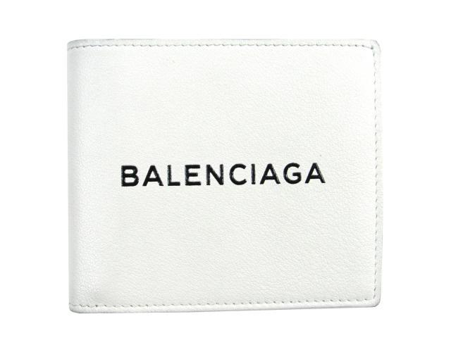 【中古】バレンシアガ ショッピング スクエアウォレット 二つ折り札入れ財布 メンズ レディース レザー ホワイト×ブラック (485108DLQHN9060) | BALENCIAGA 財布 美品 ブランド ブランドオフ BRANDOFF