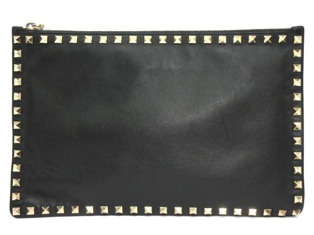 【中古】ヴァレンチノ ロックスタッズ クラッチバッグ ユニセックス レザー ブラック×ゴールド(スタッズ) (PE-K269BOL2) | VALENTINO クラッチバック クラッチ セカンドバッグ バッグ バック カバン 鞄 BAG ブランドバック ブランドバッグ ブランド ブランドオフ BRANDOFF