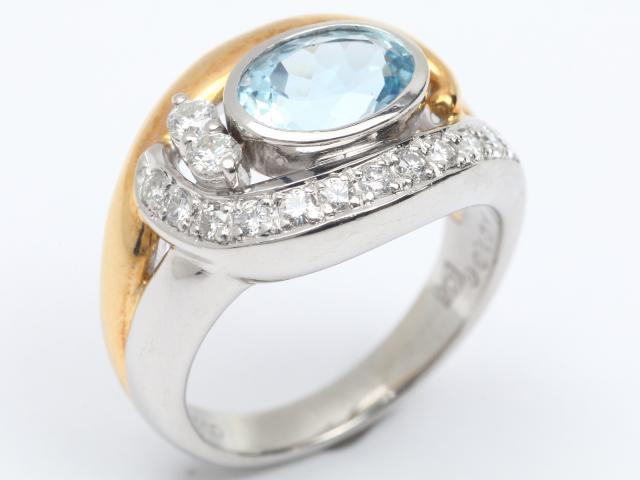 【中古】ジュエリー アクアマリン ダイヤモンド リング 指輪 レディース PT900 プラチナx K18YG イエローゴールド x アクアマリン(1.36ct) x ダイヤモンド(0.33ct) | JEWELRY リング ブランドオフ BRANDOFF 美品 ボーナス