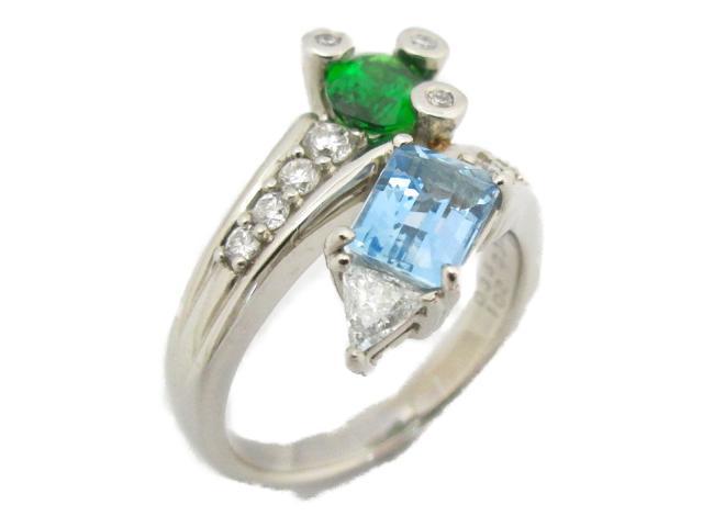 【中古】ジュエリー マルチリング 指輪 レディース PT900 プラチナ×アクアマリン(1.02ct)×ガーネット(0.86ct)×ダイヤモンド(0.43ct) | JEWELRY リング ブランドオフ BRANDOFF ボーナス