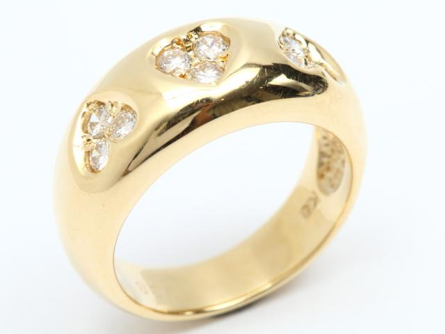 【中古】ジュエリー ダイヤモンド リング 指輪 レディース K18YG(750) イエローゴールド x ダイヤモンド (0.38ct) | JEWELRY リング ブランドオフ BRANDOFF 美品 ボーナス