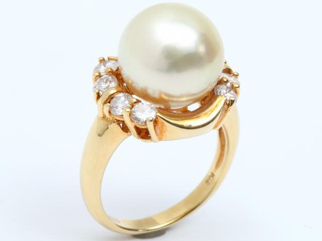 【中古】ジュエリー パール ダイヤモンド リング 指輪 レディース K18YG(750) イエローゴールド x パール x ダイヤモンド(0.80ct) | JEWELRY リング ブランドオフ BRANDOFF 美品 ボーナス