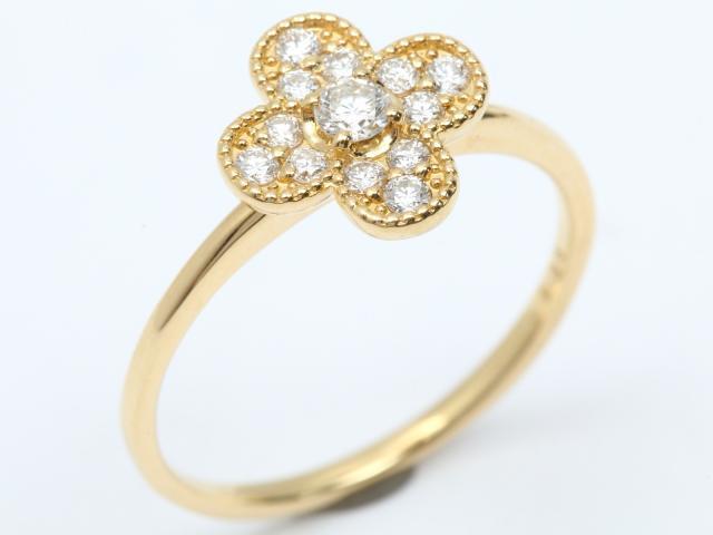 【中古】ジュエリー ダイヤモンド リング 指輪 レディース K18YG(750) イエローゴールド x ダイヤモンド(0.25ct) | JEWELRY リング ブランドオフ BRANDOFF 美品 ボーナス