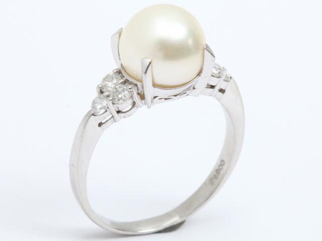 【中古】ジュエリー パール リング 指輪 レディース PT900 プラチナ x ダイヤモンド(0.36ct) x パール | JEWELRY リング ブランドオフ BRANDOFF 美品 ボーナス