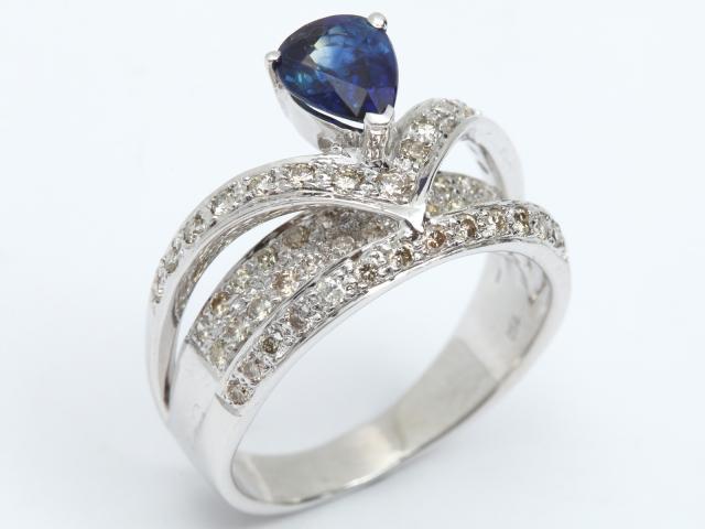 【中古】ジュエリー サファイア ダイヤモンド リング 指輪 レディース K18WG(750) ホワイトゴールド x サファイア (1.08ct) x ダイヤモンド (0.67ct) | JEWELRY リング ブランドオフ BRANDOFF 美品 ボーナス